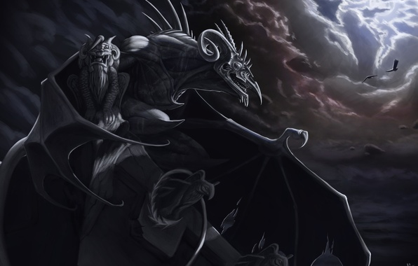 Picture clouds, wings, art, tail, horns, statues, gloomy, gargoyle