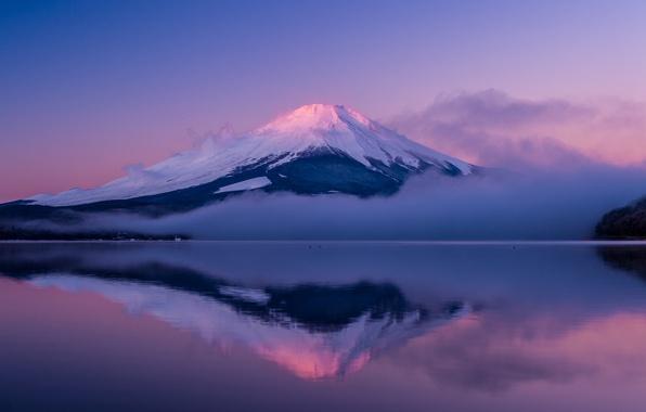 Picture the sky, clouds, fog, lake, reflection, island, mountain, the evening, Japan, Fuji, Honshu, Fuji, lilac