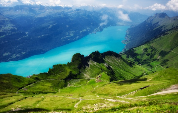 Picture greens, the sky, grass, clouds, trees, view, Switzerland, railroad, Rothorn, from the top of Rothorn, …
