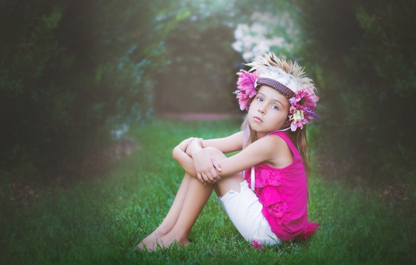 Picture flowers, pose, child, girl, sitting