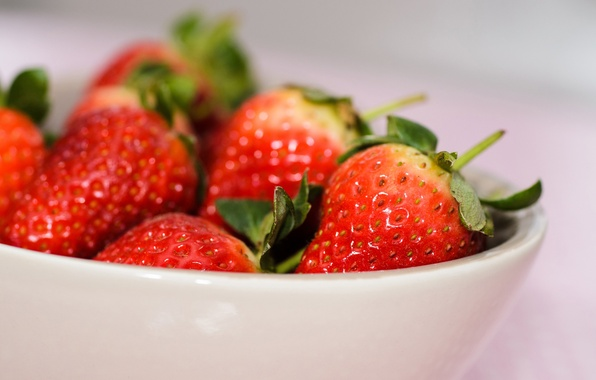 Picture strawberry, berry, plate, bowl