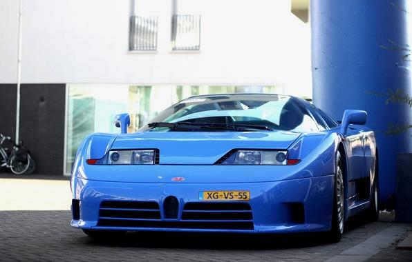 Picture blue, the building, supercar, supercar, Bugatti, blue, building, Bugatti EB 110