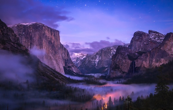 Picture Yosemite, Waterfall, Valley, Fog, National Park, Tunnel