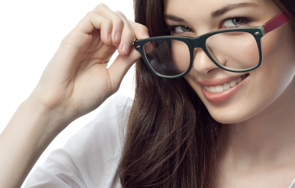Picture look, girl, smile, background, hair, glasses