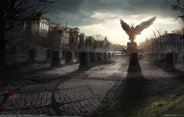 Picture the city, home, wings, angel, area, monument, plate, statue, tombstone, Frank Hong, City Angels 2
