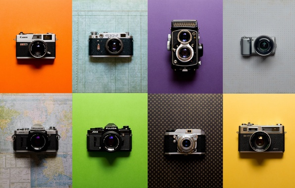 Photo wallpaper cameras, collection, vintage