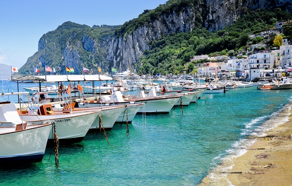 Picture sea, rocks, shore, island, home, boats, Italy, Italy, Capri, Capri