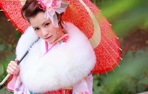 Picture look, face, umbrella, clothing, kimono, Asian
