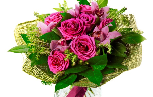 Picture flower, flowers, roses, bouquet, orchids, Orchid, beautiful