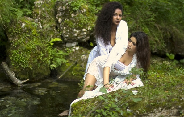 Picture nature, stream, stones, two girls