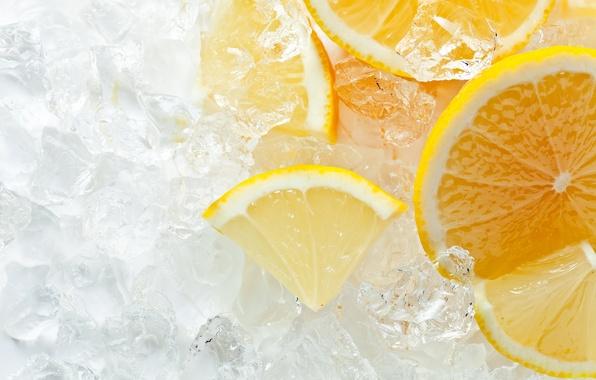 Picture ice, lemon, orange, citrus