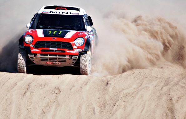 Picture Sand, Red, Mini, Sport, Race, Lights, Mini Cooper, Dakar, SUV, Rally, Mini, The front, Side …