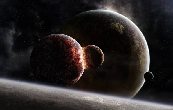 Picture colors, Star, blue, planets, planet, Sci Fi, collision