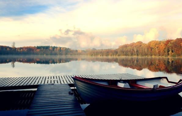 Picture forest, the sky, river, photo, boat, pier, bridges