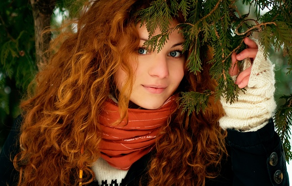 Picture forest, look, girl, nature, face, smile, hair, red