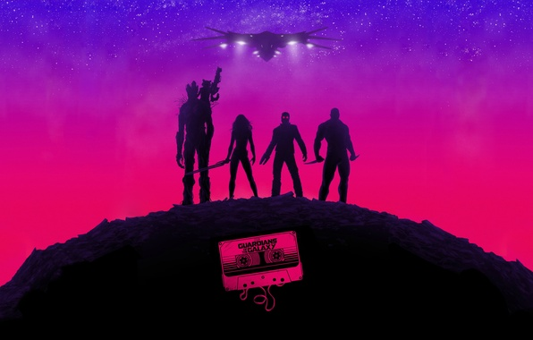 Picture the film, art, poster, Rocket, Star-Lord, Guardians of the Galaxy, Gamora, Groot, Drax