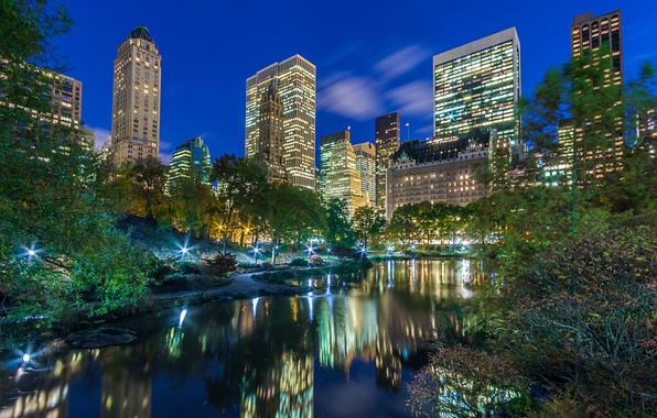 Picture the city, Park, skyscrapers, the evening, USA, America, USA, New York City, new York