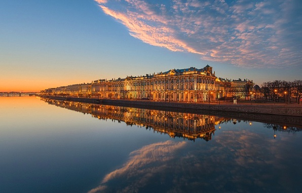 Picture the sky, clouds, sunset, bridge, river, home, Saint Petersburg, promenade, Neva