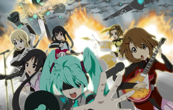 Picture girls, fire, guitar, explosions, group, anime, Hatsune Miku, K-On, Vocaloid, Vocaloid, aircraft, Love is War