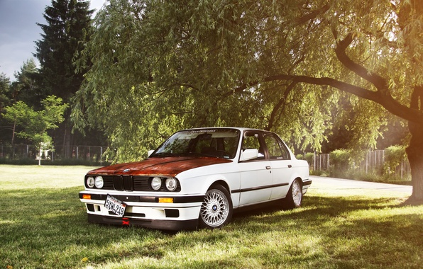 Picture BMW, BMW, white, tuning, bbs, E30, The 3 series, rusty