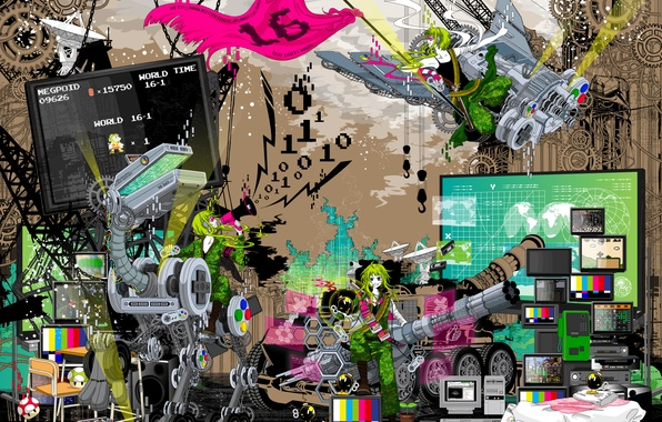 Picture style, game, robot, flag, art, games, art, TV, 16 bit, 16 bit
