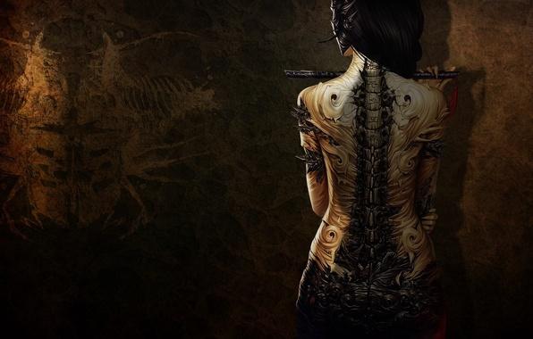 Picture girl, back, tattoo, flute, art