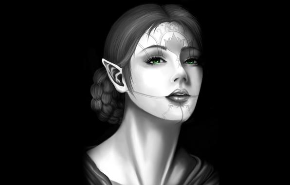 Picture pattern, elf, Girl, braid, elf, black background, green eyes