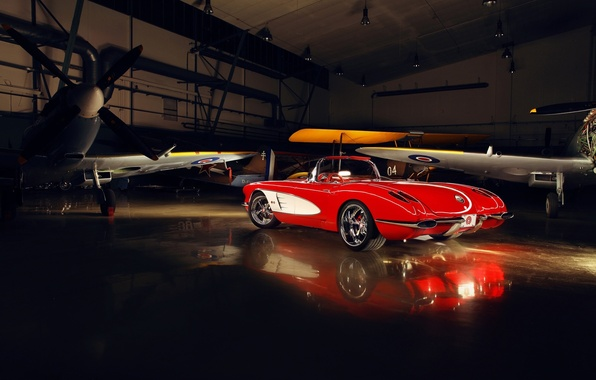 Picture red, tuning, Corvette, Chevrolet, hangar, twilight, Chevrolet, drives, classic, rear view, tuning, aircraft, custom, Corvette, …