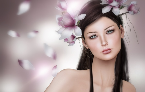 Picture girl, flowers, portrait, brunette, wreath, Magnolia