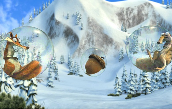 Picture cartoon, walnut, protein, ice age, Ice Age, bubble