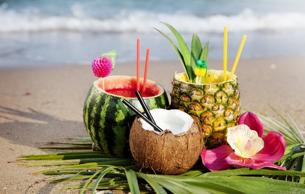 Picture sand, sea, beach, flower, summer, leaves, the sun, coconut, watermelon, juice, pineapple, Orchid, tube