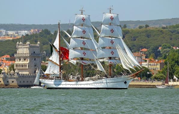 Picture river, sailboat, yachts, Portugal, Lisbon, Portugal, Lisbon, Belém Tower, the Tagus river, bark, NRP Sagres …