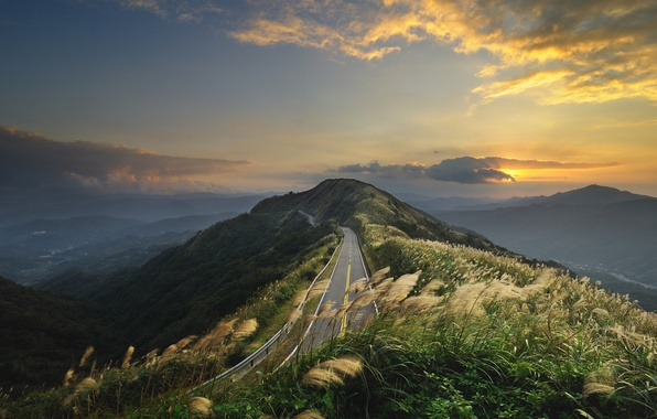 Picture road, the sky, grass, mountains, the wind, hills, landscapes, China, view, road, places