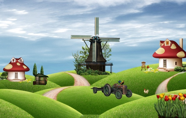 Picture field, house, collage, mushroom, tale, tractor, farm