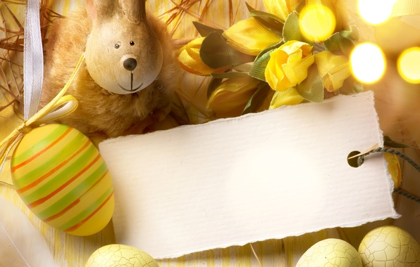 Picture flowers, holiday, hare, eggs, Easter, tulips, card, figure, bokeh, Easter, eggs