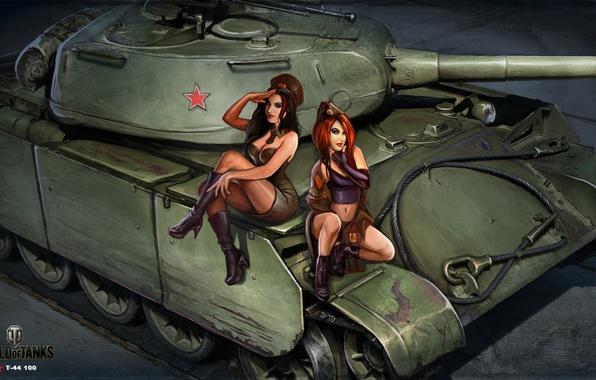 Picture girls, figure, art, tank, Soviet, average, World of Tanks, tankistki, Nikita Bolyakov, The t-44 100