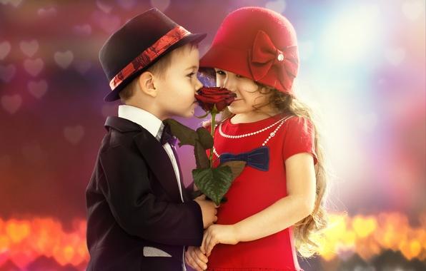 Picture flower, children, mood, romance, rose, boy, girl