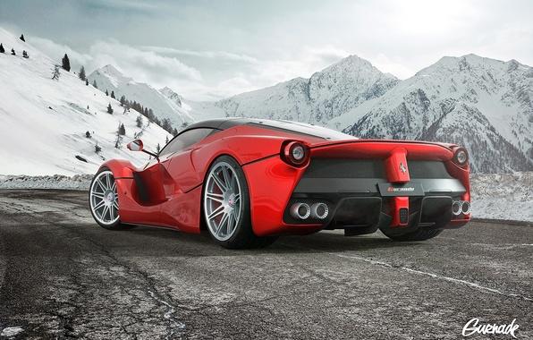 Picture Ferrari, Snow, White, Wheels, LaFerrari, HRE, by Gurnade, Moutian