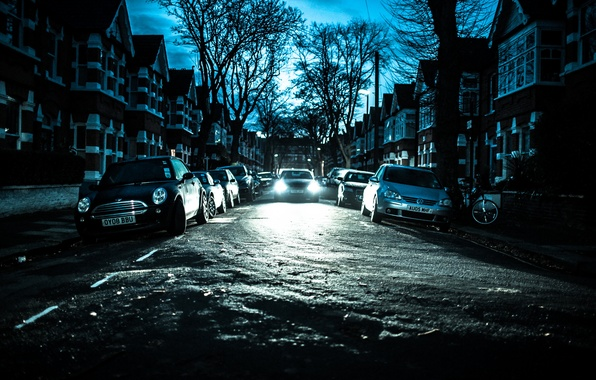Picture winter, the sky, trees, bike, street, England, London, home, silhouette, cars, headlight, lamppost, Chiswick