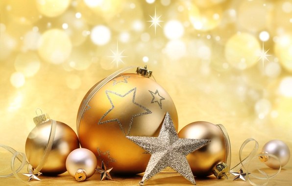 Picture decoration, balls, star, New Year, Christmas, gold, Christmas, bokeh, decoration, Merry