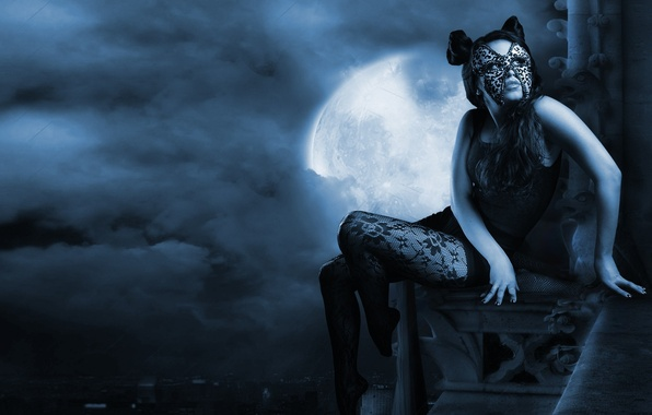 Picture cat, look, girl, clouds, night, the city, mesh, the moon, hair, height, hands, mask, art, …