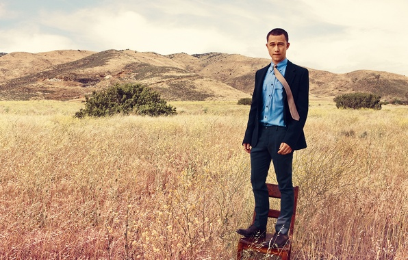 Picture field, grass, hills, chair, photographer, costume, actor, journal, the bushes, photoshoot, Joseph Gordon-Levitt, Joseph Gordon-Levitt, …