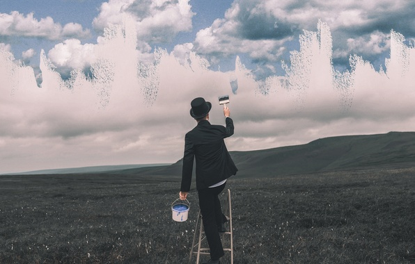 Picture the sky, paint, people