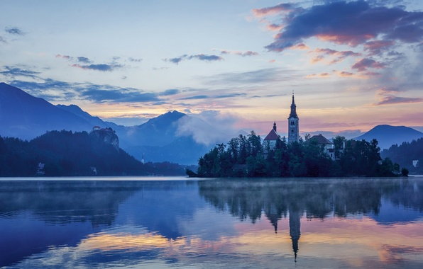 Picture mountains, lake, reflection, island, Church, Slovenia, Lake Bled, Slovenia, Lake bled, St. Mary's Church