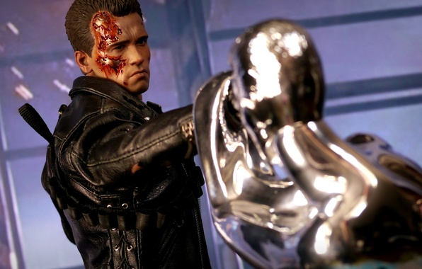 Picture background, toy, robots, figurine, T-800, T-1000
