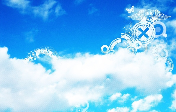 Photo wallpaper blue, strip, strips, flat figures, white, butterfly, patterns, the sky, clouds