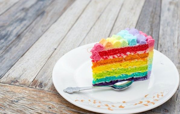 Picture rainbow, colorful, cake, rainbow, cake, Happy, Birthday, Birthday