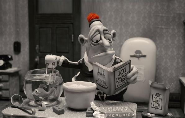 Picture fish, cook, art, art, cartoon, funny, fish, flour, flour, cartoons, cook, chocolate cake, funny, Mary …