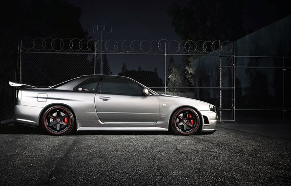 Picture night, tuning, coupe, nissan, sports car, side, skyline, Nissan