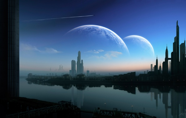 Picture night, the city, planet